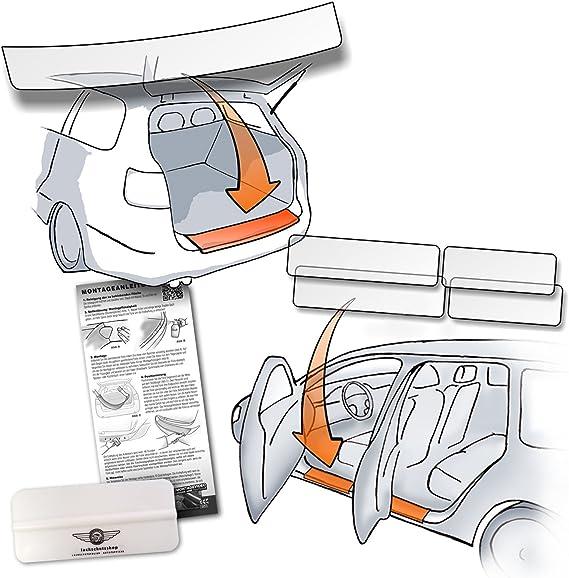 Set Passform Lackschutzfolie Passend Für Hyundai Kona Ab Bj 2017 Im Set Für Ladekante Und Alle Einstiegsleisten Türeinstiege Transparent 150µm Vorgeschnitten Paßgenau Selbstklebend Auto