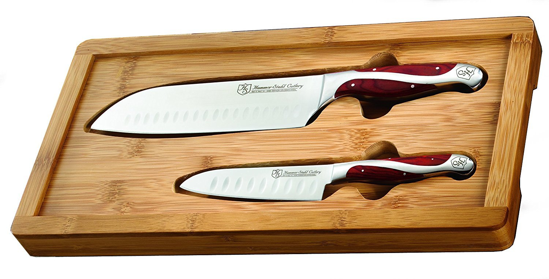 Hammer Stahl Santoku Knives w/ Bamboo Case Set - 2 Knives