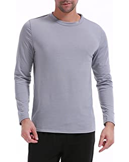 MODCHOK Herren Longsleeve Shirt Sweatshirt Rundhals-Ausschnitt Hemd Basic T-Shirt  Slim Fit 404527c74b