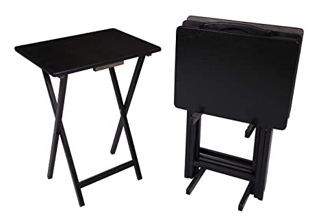 newest b8702 e9576 5 Piece Tray Table Set Folding Wood TV Game Snack Dinner Couch Laptop Stand  (1) (Black)