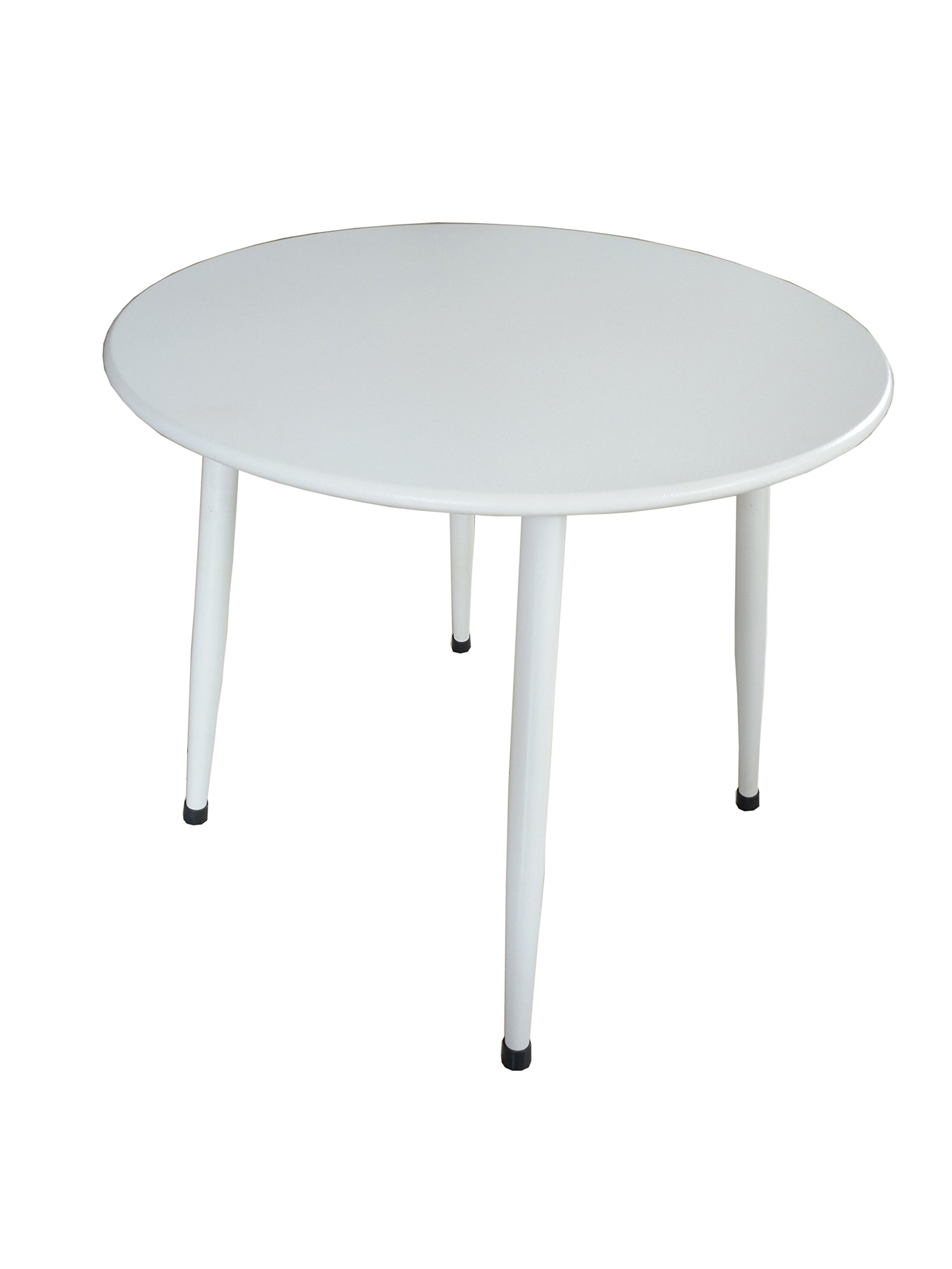 JDWD Steel Patio Side Table, UV-Protection Coffee Table, Small Round KD Tea Table, White (White)