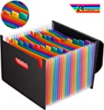 Expanding File Folders with Lid, Letter Size 24 Pockets Expandable File Organizer with Cover, Portable Rainbow File Folder with Closure, Monthly Self Standing Accordion Document Folder Organizer