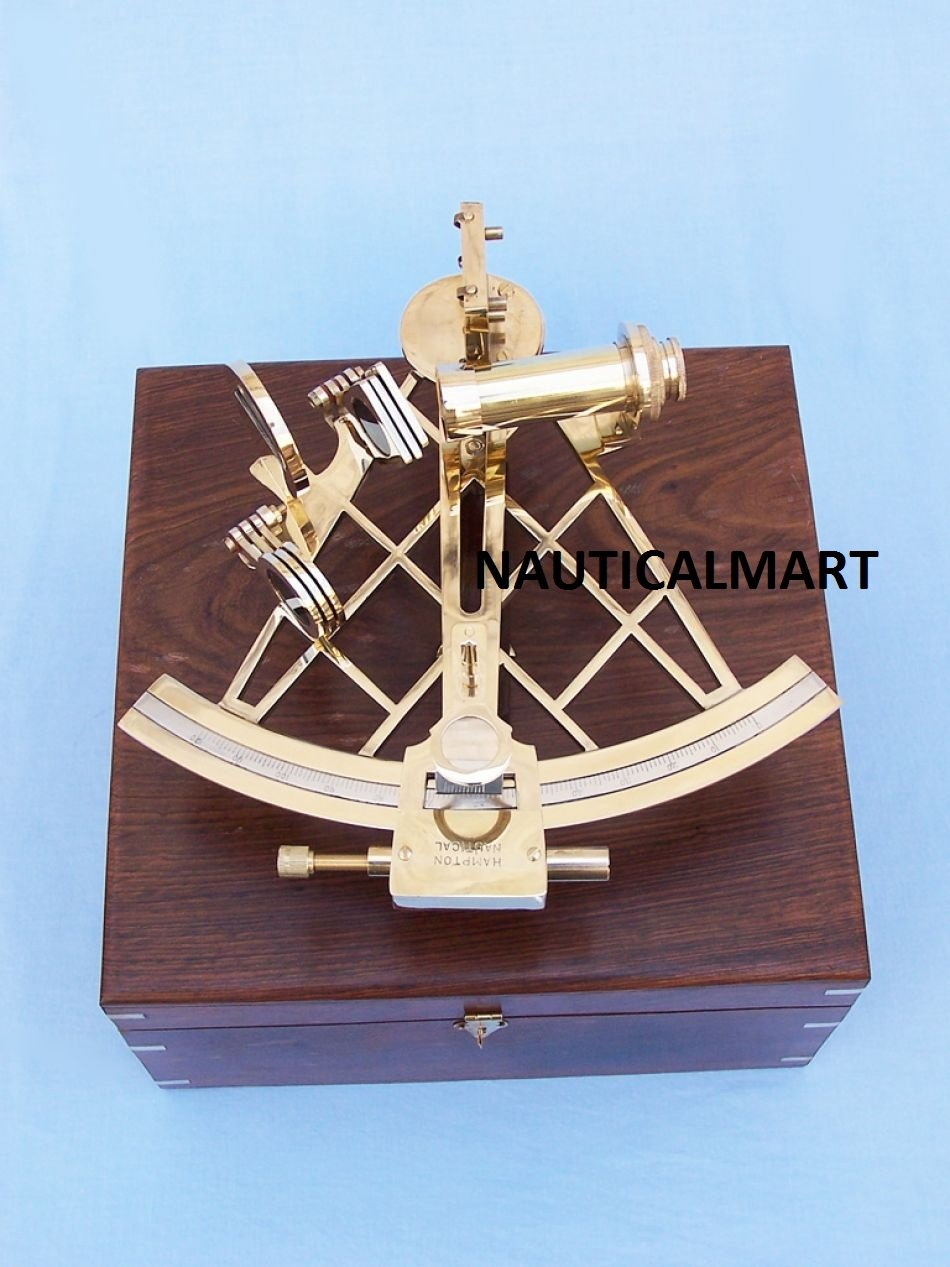NAUTICALMART Admiral's Brass Sextant with Rosewood Box 12''