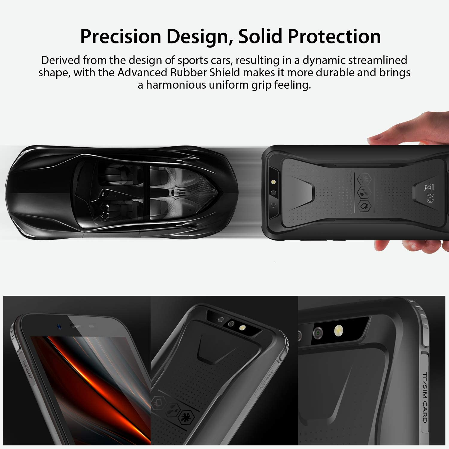 """Rugged Unlocked Cell Phones, Blackview BV5500 Pro 4G Smartphones IP68 Waterproof Drop Proof, 5.5"""" 3GB+16GB Dual SIM [Quad Core] Android 9.0 4400mAh Battery and Face ID Mobile Phones, Black: Electronics"""
