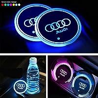 Interestingcar LED Car Cup Holder Lights,LED Car Logo