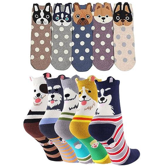 Calcetines de Animales Lindos Mujer Calcetines de Divertidos Ocasionales, Mujer Novedad Calcetines de Perro Mascota, 5/10 Pares, EU 37-42: Amazon.es: Ropa y ...