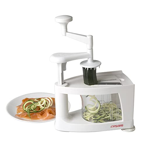 Cuisique Spiralizer The Premium Easy to use Healthy Courgette Spaghetti Pasta Maker, with Extra 4 Blade Bundle including - Fruit Slicer, Mandolin, Vegetable Cutter and Juicer - with a Unique 1 Litre Spiral Catcher