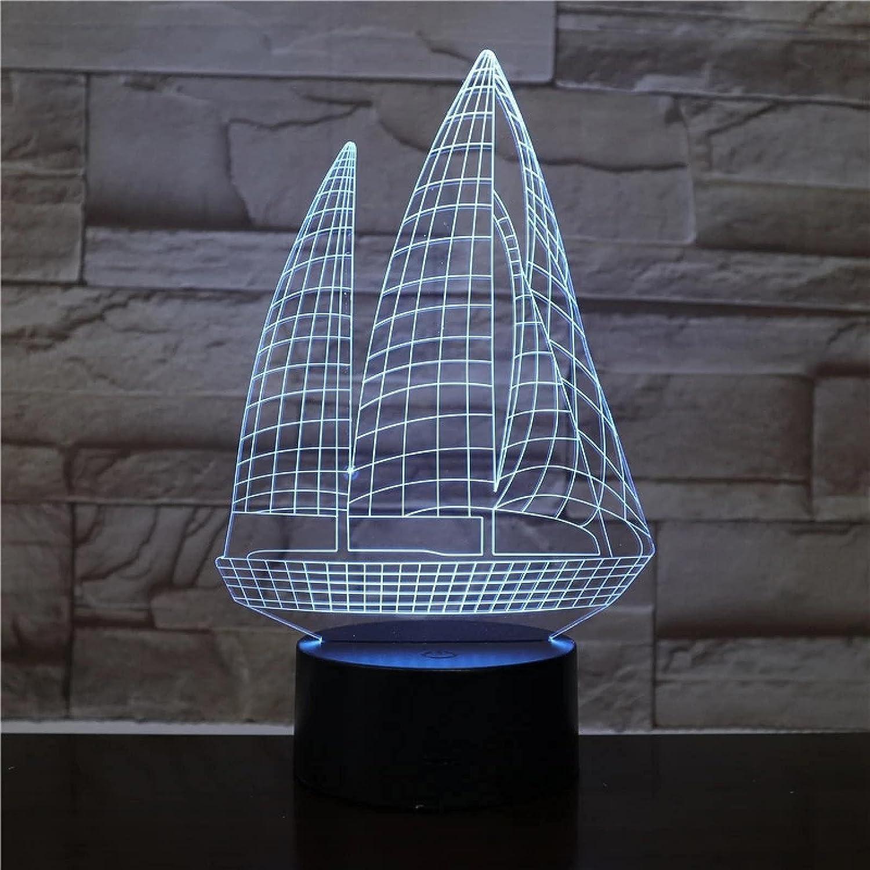 Velero 3D Luce Notturna Che Cambia Colore A Led Per La Decorazione Della Stanza Dei Bambini Luce Fredda Luce Notturna A Led