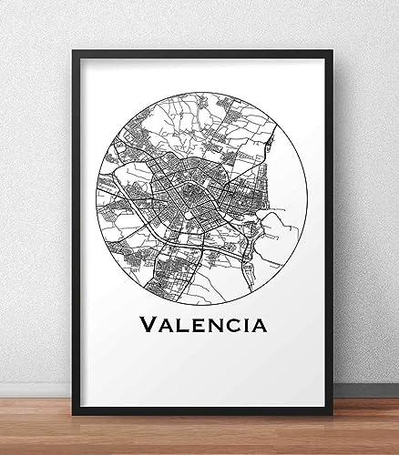 Cartel Valencia España Minimalista Mapa - City Map, decoración, regalo