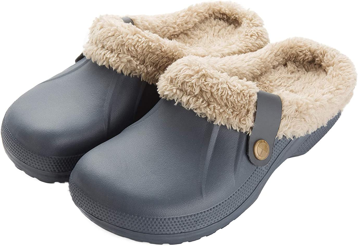 ChayChax Waterproof Slippers Women Men Fur Lined Clogs Winter Garden Shoes Warm House Slippers Indoor Outdoor Mules