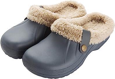 ChayChax Impermeable Zapatillas de Estar por casa para Mujer Hombre Zuecos con Forro Pelusa Caliente Pantuflas Interior Zapatillas Invierno Al Aire