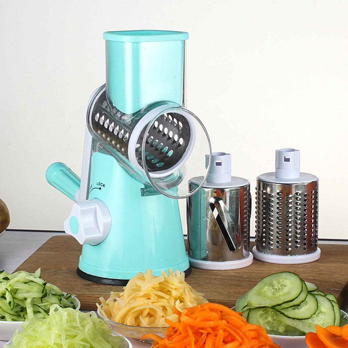LEKOCH Manuelle Multi Gemüseschneider Gemüsehobel Trommelreibe Käsemühle Mit 3 Edelstahl Trommeleinsätze (Blau) LS2023