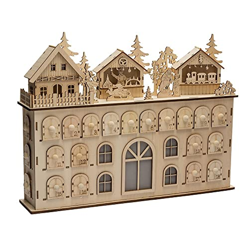 LED Wooden Advent Calendar with 24 drawers and Christmas scenes on top #adventcalendar