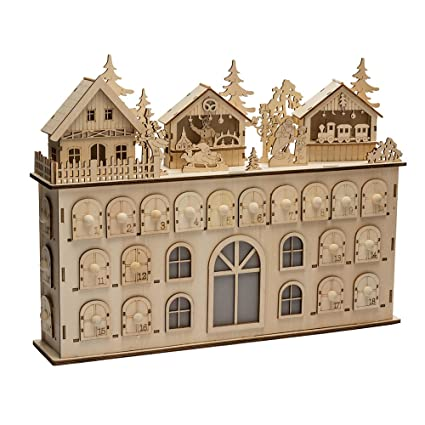 Amazon Com Kurt Adler Led Wooden Advent Calendar Decoration 13