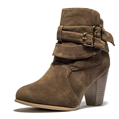 Women's Buckle Strap Chunky Block Stacked Heel Ankle Booties