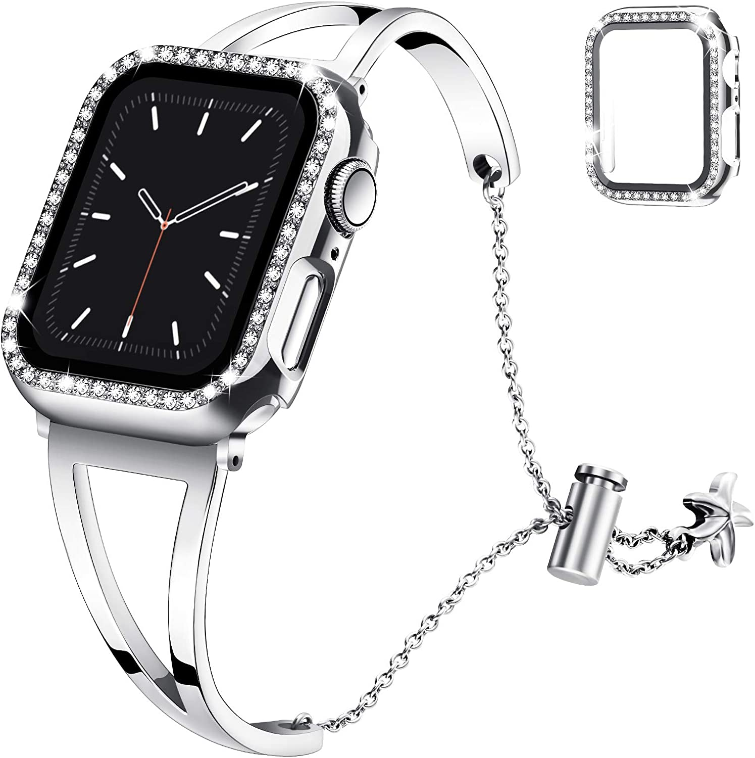 Recoppa Compatible with Apple Watch Band 38mm Series 3 2 1, Jewelry Bracelet Bangle Wristband and Bling Case with Tempered Glass Screen Protector for iWatch(Silver/Silver, 38mm)