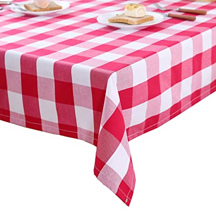 SINOGEM Decorative Polyester Tablecloths Red U0026 White Checkered Waterproof  And Stain Resistant Tablecloth For Dining Room