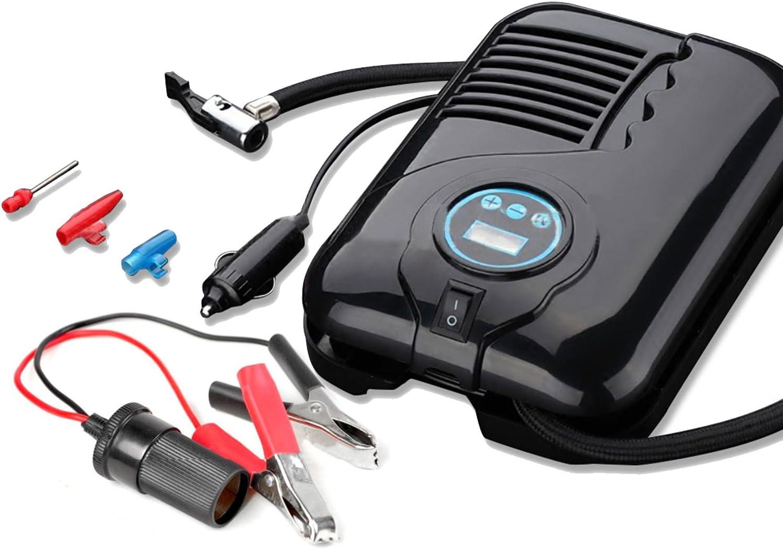 con manometro Digitale a LED 3 adattatori per valvola Spina per Sigaretta 12V CC 12V e Clip per Alligatore Libero NUZAMAS Gonfiatore per Pneumatici 150PIS Portatile 15L // min compressore dAria