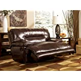 Ashley Furniture Signature Design - Exhilaration Oversized Manual Recliner Sofa - Reclining Love Seat - Chocolate Brown