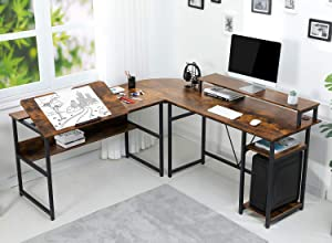 Sedeta L Shaped Desk, 70.9 inches Corner Computer Desk with Monitor Stand Riser, Drafting Drawing Table with Tiltable Desktop, Workstation Study Writing Table Art Desk for Home Office, Rustic Brown