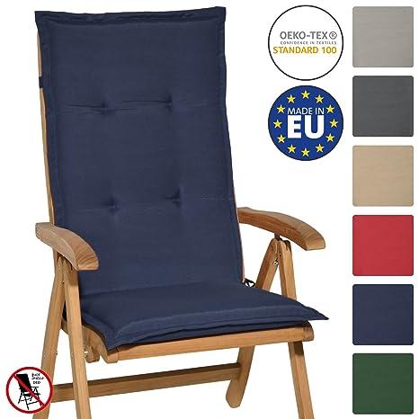 Beautissu Loft HL - Cojín para sillas de balcón o Asiento Exterior con Respaldo Alto - 120x50x6 cm - Placas compactas de gomaespuma - Azul Marino