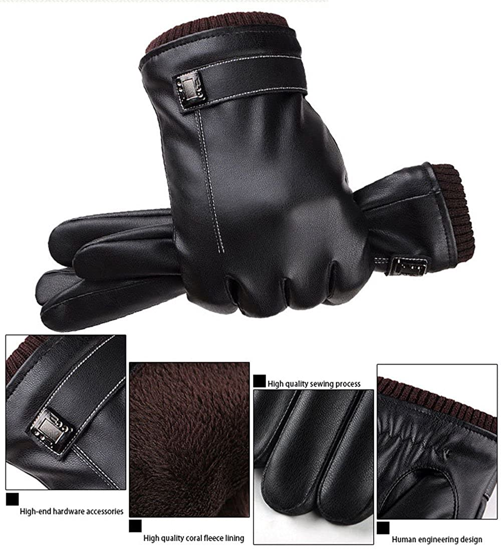 T-GOTING Mens PU Faux Leather Gloves Touchscreen Texting Lined Winter Driving Gloves