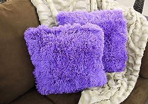 Empire Home Fashi Kelly Soft Fur Cushion Square Decorative Solid Shaggy Furry Throw Plush Pillow (Lilac Purple)