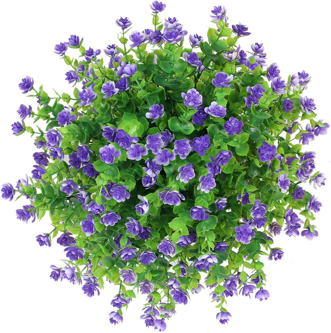 Flojery 6Pcs Artificial Flowers UV Resistant Fake Flower Greenery Eucalyptus Plants with Flower for Porch Window Box Home Garden Decor (Purple)