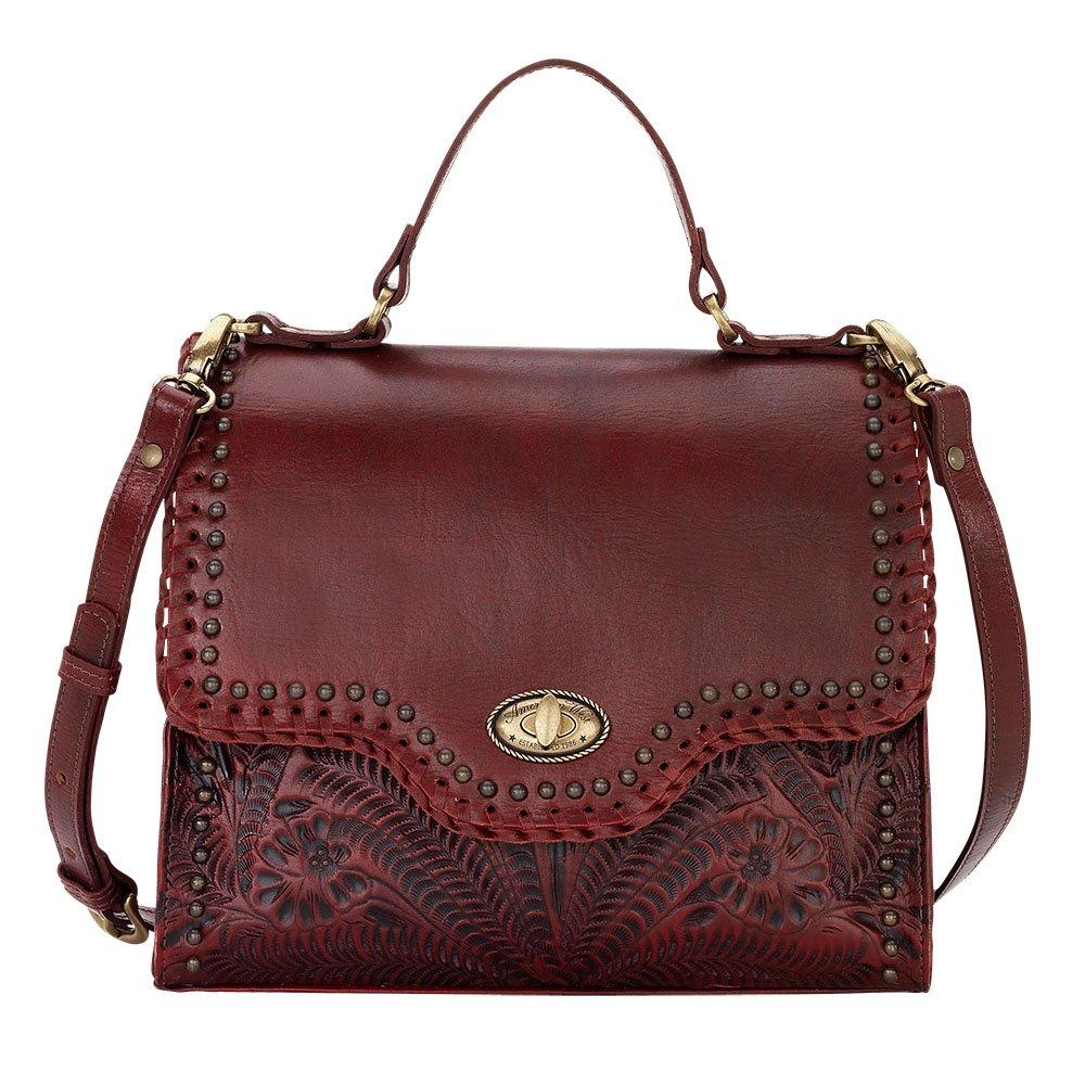 American West Leather Top Handle Classic Satchel Handbag with Purse Charm Key Chain (Hidalgo Crimson)