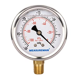 "MEASUREMAN Glycerin Filled Vacuum Gauge 2-1/2"" x 1/4""NPT Lower, Stainless Steel Case, Brass Inside, 30inHg/-100kpa-0"