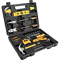 DEKOPRO 65 Pieces Tool Set General Household Hand Tool Kit with Storage Case Plastic ToolBox