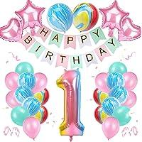 Globos de Cumpleãnos para Niña 1 Años, Feliz Cumpleaños Decoración Chica Globos Rosa, Globos de Lámina Látex Globos…
