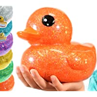 "Giant Glitter Rubber Ducks Metallic Colors 7"" (1 Unit Assorted) Rubber Duckies Fidget Toy for Kids, Sensory Play Stress…"