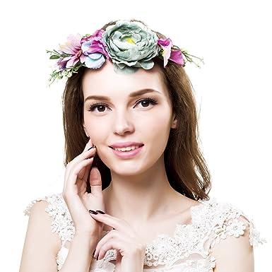 Ever Fairy Bride Flower Crowns Bridal Headband Flower Girl Crown Bridesmaid  Headpiece Floral Hair Wreath Wedding 174e49ff45a0