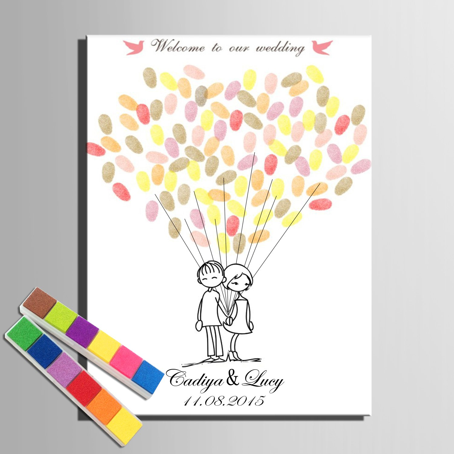 Yiju Fingerprint Signature Canvas Print Boy and Girl Wedding Tree Wedding Gift wedding decoration Party Gift Wedding name (Included 12 Ink Colors) (59x80cm no framed)