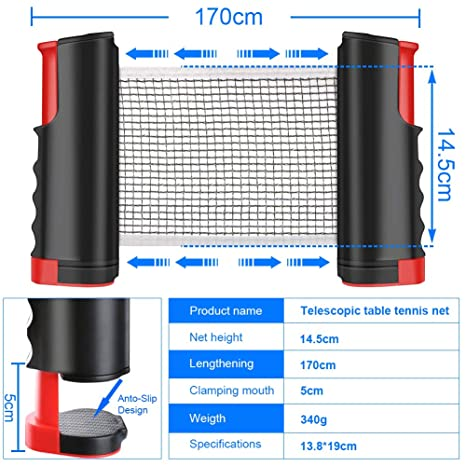 WOSTOO Red de Tenis de Mesa, Portátil Retráctil Table Tennis Net Ping Pong Net para Entrenamiento Longitud Ajustable a 175 cm Adecuado para Deportes ...