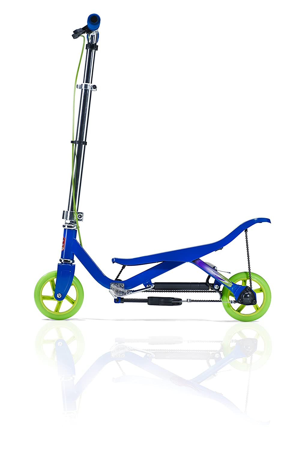 SpaceScooter Junior Push Board Teeter Totter Kids Scooter with Brake, Air Suspension Compact Fold – Blue