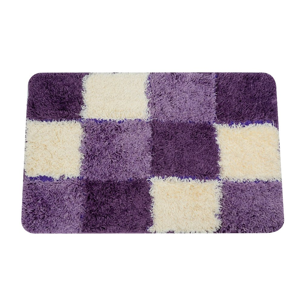 Top Finel Non Slip Bath Mats Microfiber Shaggy Bathroom Rugs Pad Absorbent Door Mats for Living Room Kitchen, 20 X 32, Purple