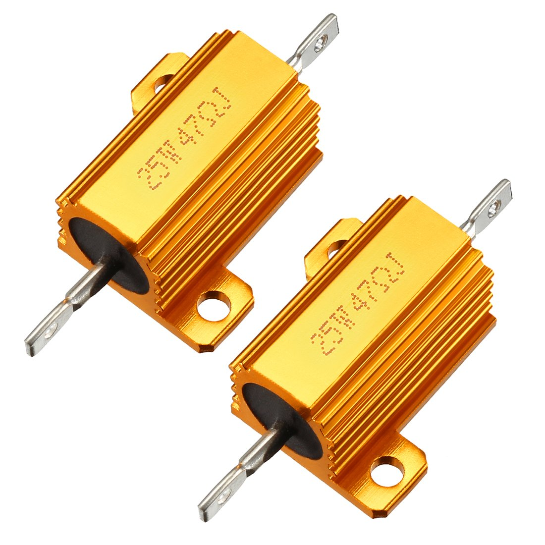 uxcell 25W 47 Ohm 5/% Aluminum Housing Resistor Screw Tap Chassis Mounted Aluminum Case Wirewound Resistor Load Resistors Gold Tone 2 pcs