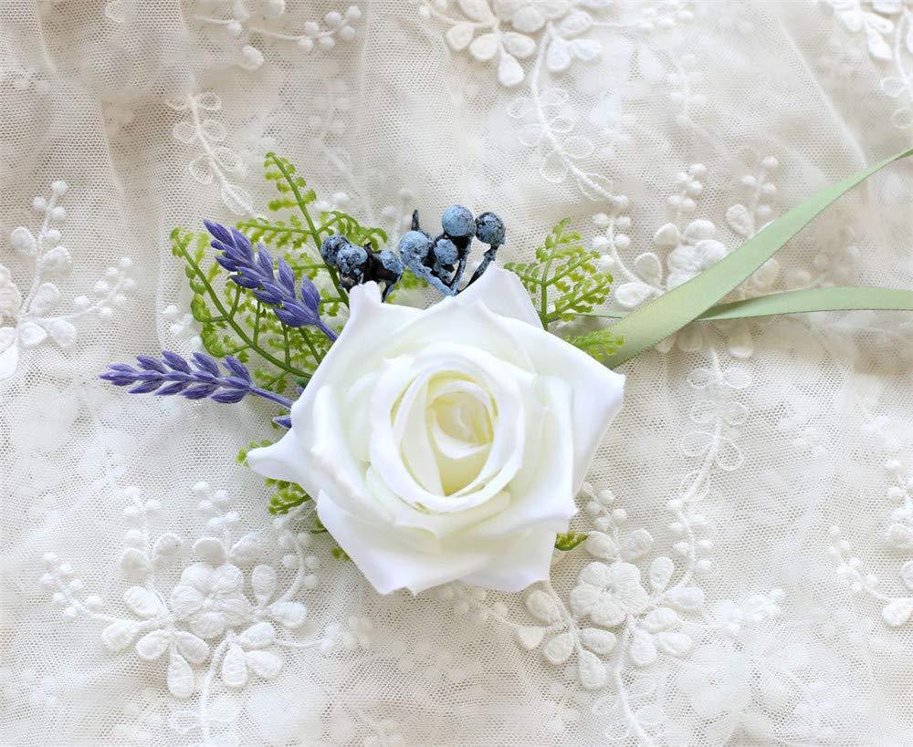 MOJUN バラ リストフラワー コサージュ フラワー ウェディング プロム パーティー Pack of 2 B07GB59HHC White Rose With Lavender Pack of 2