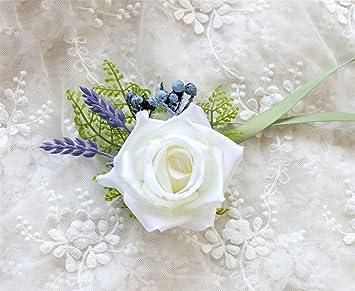 Amazon Mojun White Roses Wrist Flower Lavender Corsage Flower