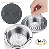 Anybest Kitchen Sink Strainer,Stainless Steel surface manually polished, 4.34 Inches in Diameter,Contains a Silicone Lid