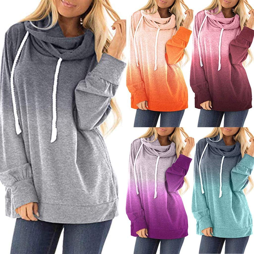 Samojoy Womens Tie Dye Hoodie Color Print Hooded Sweatshirt Turtleneck Loose Fit Pullover Long Sleeve Winter Outfit Tops