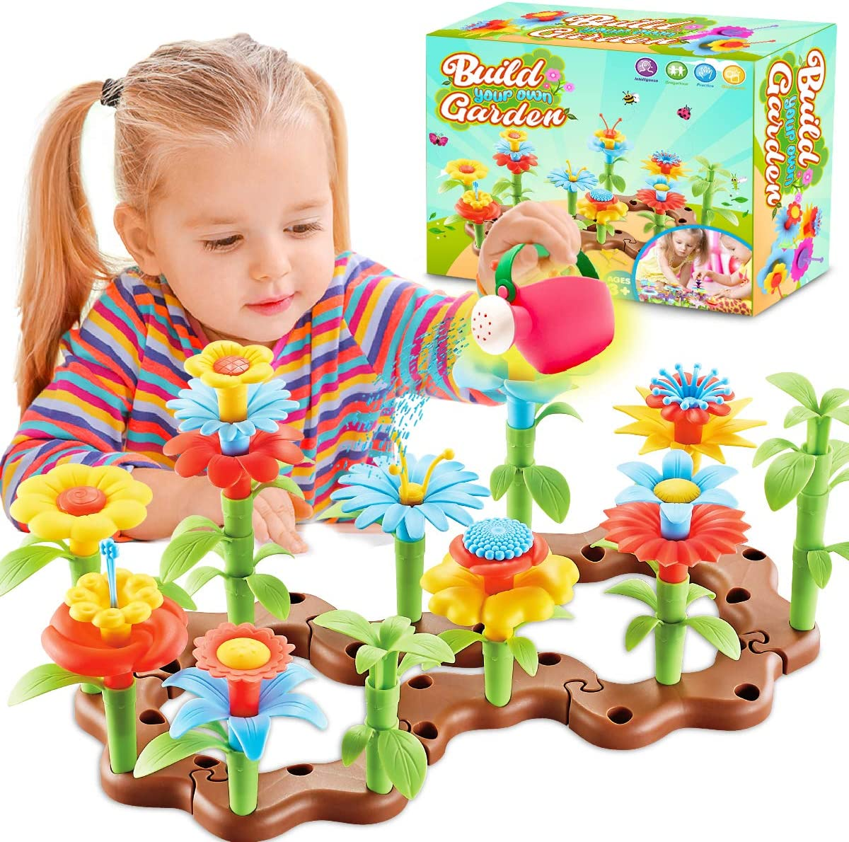 FunzBo Flower Garden Building Toys for Girls - STEM Toy Gardening Pretend Gift for Kids - Stacking Game for Toddlers playset - Educational Activity for Preschool Children Age 3 4 5 6 7 Year (Brown)