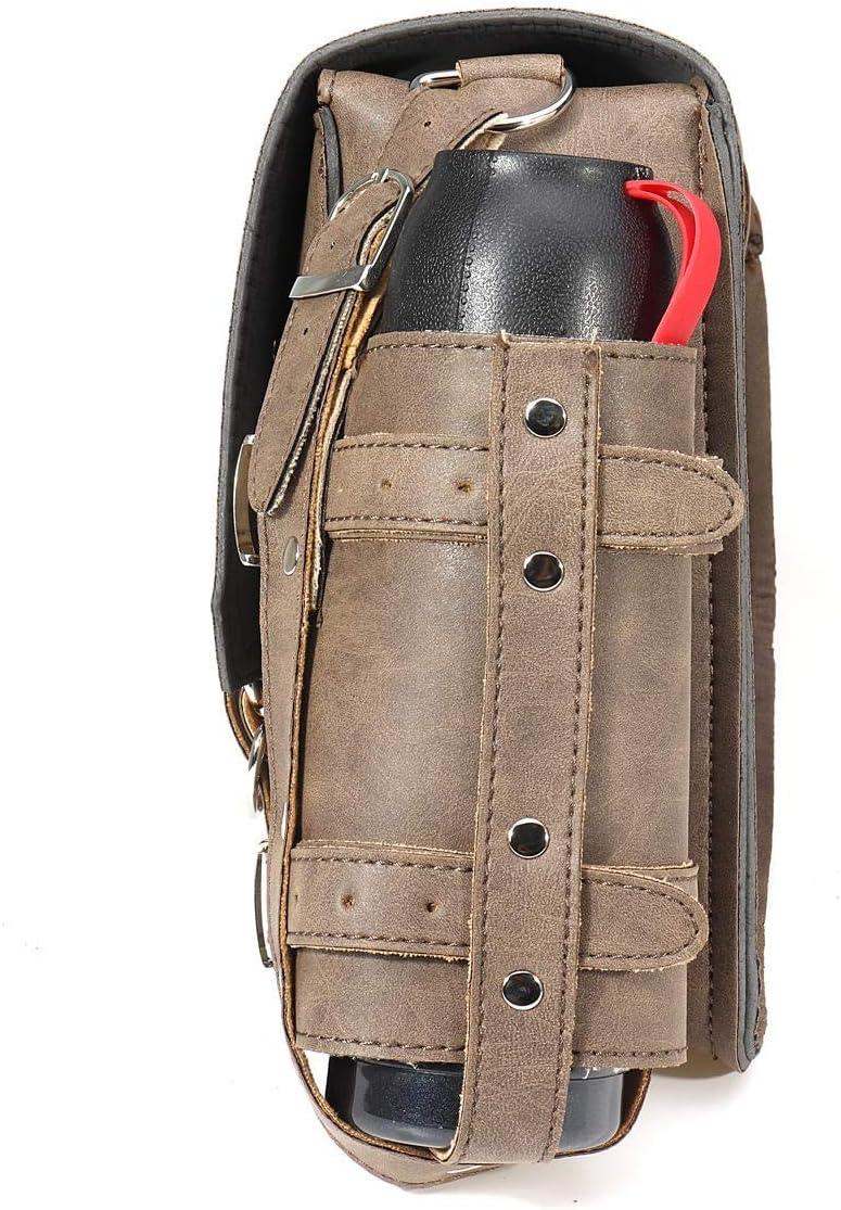 Taille : Left Sacoche /à bandouli/ère avec Porte-Bouteille for Harley Davidson Vintage en Cuir PU Marron//c/ôt/é Droit Sac de Selle imperm/éable /à leau
