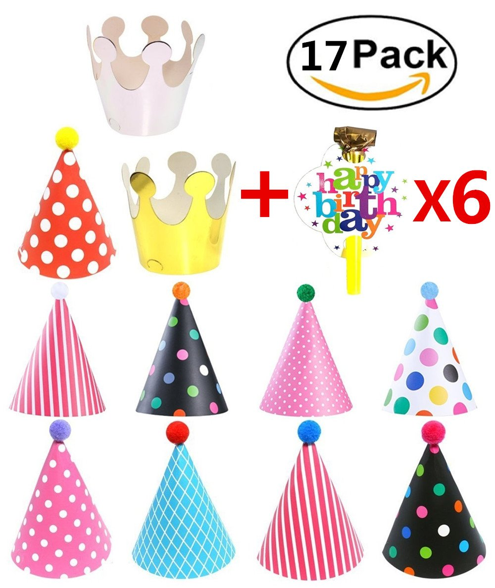 Birthday Party Prop Bag By Garloy,11 Pcs Party Crown Hats and 6 Pcs Blowing Dragon.