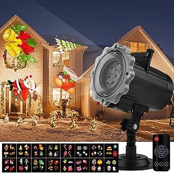 Qomolo Luces Proyector Navidad LED, Lámpara de Proyección de Navidad con 16 Diapositivas y Control Remoto, Proyección Interior y Exterior Decoración ...