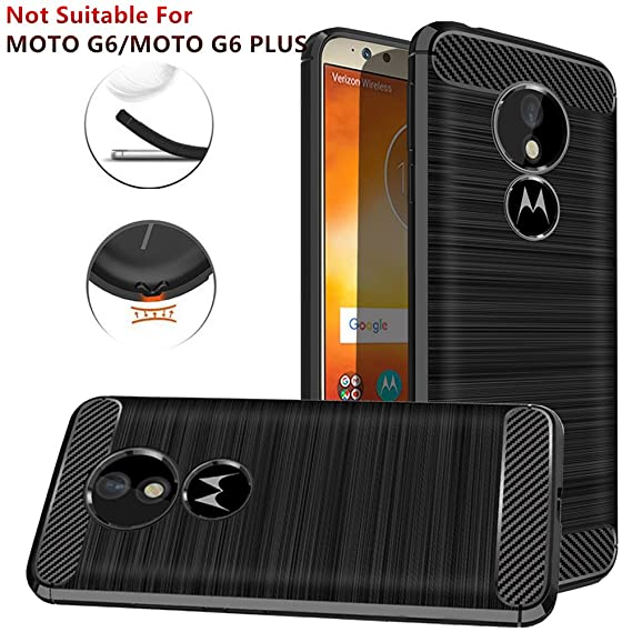 Moto G6 Play Case,Moto G6 Forge Case, Dretal Carbon Fiber Shock Resistant Brushed TextureAnti-Fingerprint Flexible Soft TPU Phone Protective Cover ...
