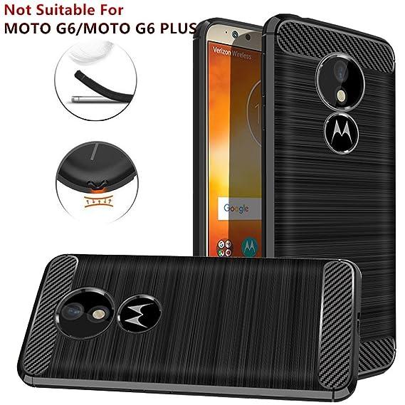 Moto G6 Play Case,Moto G6 Forge Case, Dretal Carbon Fiber Shock Resistant Brushed TextureAnti-Fingerprint Flexible Soft TPU Phone Protective Cover ...