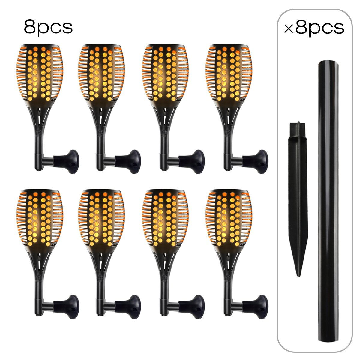 8 Pack Led Solar-Powered Dancing Flame Outdoor Torch Light, Tiki Torch Landscape Lights for Patio Path Backyard Garden Camping or Party, Flickering Fire Atmosphere Decorative Lamps for Indoor&Outdoor
